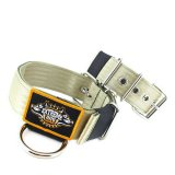 Custom Old School Seatbelt Dog Collar Beige Olive