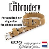 EDG dog collar personalized 1.6 inch beige