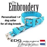 EDG dog collar personalized 1.6 inch turquoise