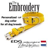 EDG dog collar personalized 1.6 inch yellow