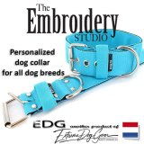 Turquoise Standard or Personalized Embroidered Dog Collar 2 inch - 5cm