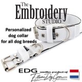 White Standard or Personalized Embroidered Dog Collar 2 inch - 5cm