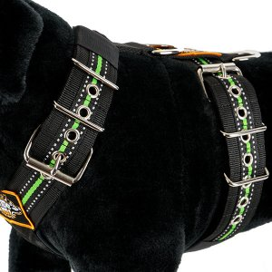 Custom dog harness 5cm reflective green by extreme dog gear