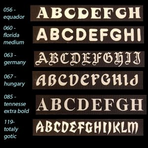 EDG Font Choices for Personalized Embroidered Dog Collar