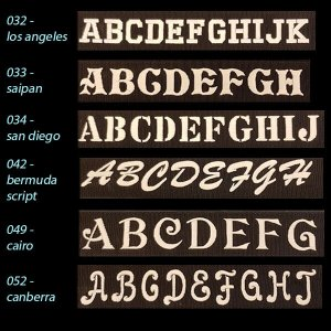 Font Choices for Personalized Embroidered EDG Dog Collar