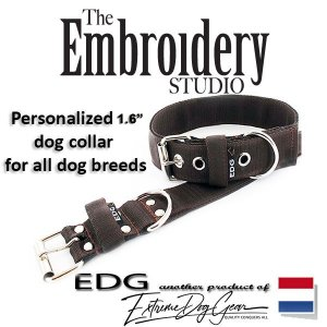 EDG dog collar personalized 1.6 inch brown