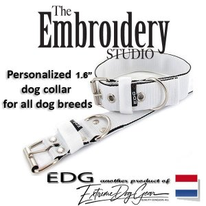 EDG dog collar personalized 1.6 inch white